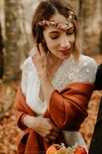 portrait de mariée automne