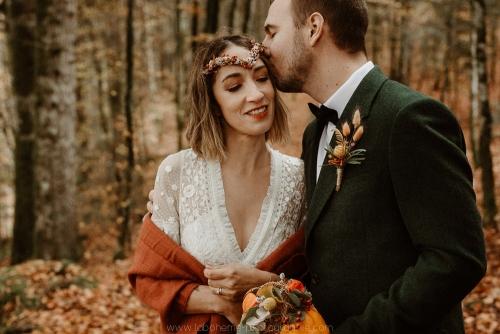 portraits des mariés, automne