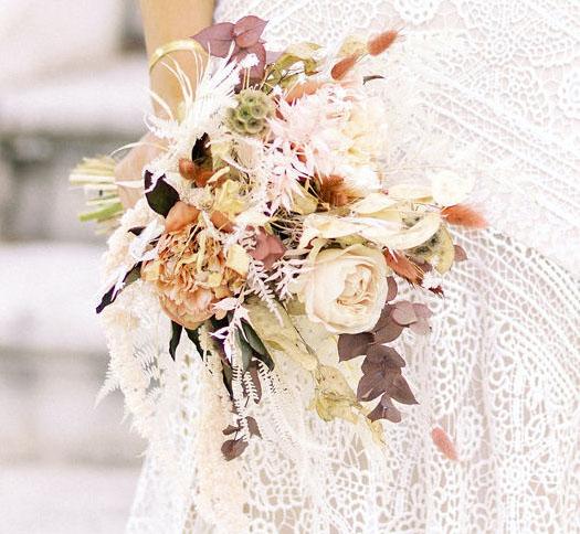 bouquet mariée sauvage fleurs séchées